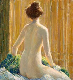 Nude Seated, 1912 by Hassam | Painting Reproduction