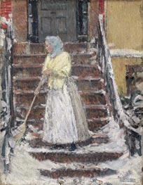 Sweeping Snow, c.1890 by Hassam | Painting Reproduction