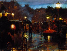 Paris at Night, 1889 by Hassam | Painting Reproduction