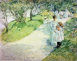 Promenaders in the Garden, 1898 by Hassam | Painting Reproduction