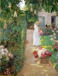 Gathering Flowers in a French Garden | Hassam | Painting Reproduction