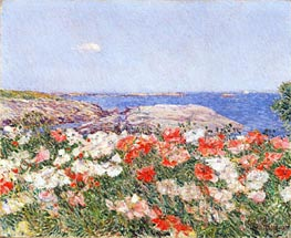 Poppies on the Isles of Shoals, 1890 by Hassam | Painting Reproduction