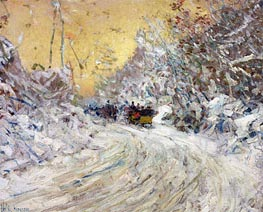 Sleigh Ride in Central Park | Hassam | Painting Reproduction