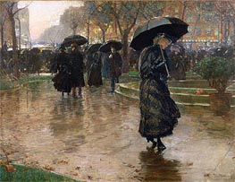 Rainy Late Afternoon, Union Square, 1890 by Hassam | Painting Reproduction