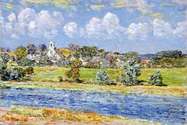 Landscape at Newfields, New Hampshire, 1909 by Hassam | Painting Reproduction