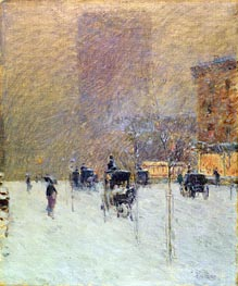 Winter Afternoon in New York, 1900 by Hassam | Painting Reproduction
