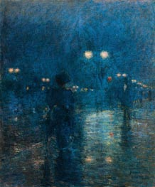 Fifth Avenue Nocturne, c.1895 by Hassam | Painting Reproduction