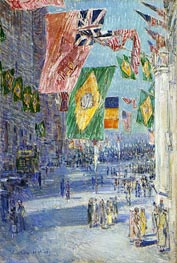 Avenue of the Allies: Brazil, Belgium, 1918, 1918 by Hassam | Painting Reproduction