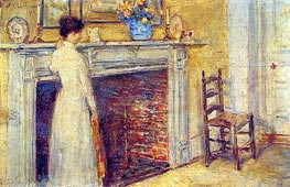 The Fireplace, 1912 by Hassam | Painting Reproduction