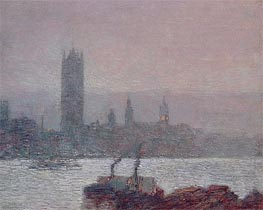 Houses of Parliament, Early Evening, 1898 by Hassam | Painting Reproduction