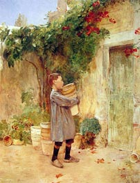 Boy with Flower Pots, 1888 by Hassam | Painting Reproduction