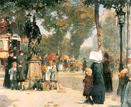 Paris Street Scene, 1887 by Hassam | Painting Reproduction