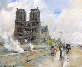 Notre Dame Cathedral, Paris, 1888 by Hassam | Painting Reproduction