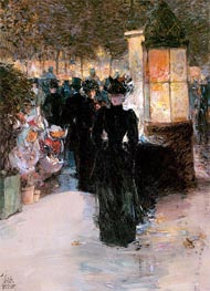 Paris Nocturne, 1889 by Hassam | Painting Reproduction