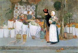 At the Florist, 1889 by Hassam | Painting Reproduction