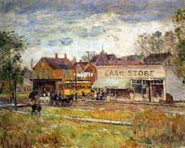 End of the Trolley Line, Oak Park, Illinois | Hassam | Painting Reproduction