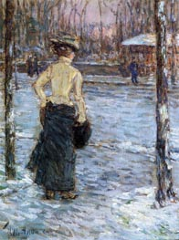 Winter, Central Park | Hassam | Painting Reproduction