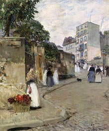 Rue Montmartre, Paris, c.1888 by Hassam | Painting Reproduction