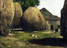 Haystacks, 1887 by Hassam | Painting Reproduction