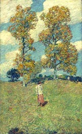 The Two Hickory Trees (Golf Player), 1919 by Hassam | Painting Reproduction
