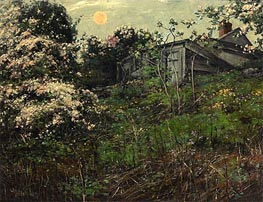 Apple Blossoms and Pink Moon, undated von Hassam | Gemälde-Reproduktion