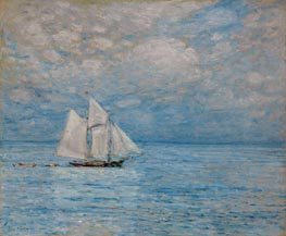 Sailing on Calm Seas, Gloucester Harbor, 1900 by Hassam | Painting Reproduction