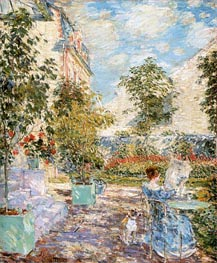 In a French Garden, 1897 by Hassam | Painting Reproduction