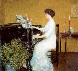 At the Piano, 1908 by Hassam | Painting Reproduction