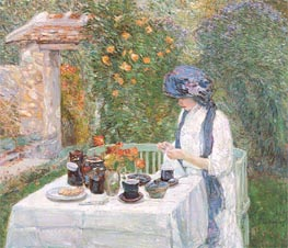 The Terre-Cuite Tea Set (French Tea Garden), 1910 von Hassam | Gemälde-Reproduktion