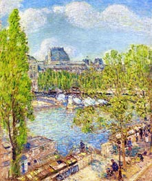 April, Quai Voltaire, Paris, 1897 von Hassam | Gemälde-Reproduktion
