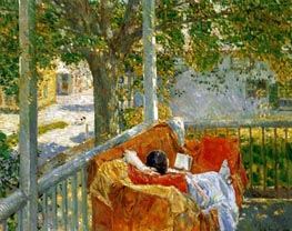 Couch on the Porch, Cos Cob, Undated von Hassam | Gemälde-Reproduktion
