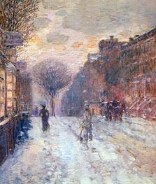 Early Evening After Snowfall, 1906 by Hassam | Painting Reproduction