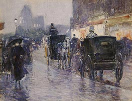 Horse Drawn Cabs at Evening, New York, c.1890 von Hassam | Gemälde-Reproduktion