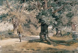 Country Road (Wayside Inn, Sudbury, Massachusetts), 1882 von Hassam | Gemälde-Reproduktion