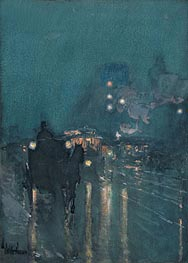 Nocturne, Railway Crossing, Chicago | Hassam | Painting Reproduction