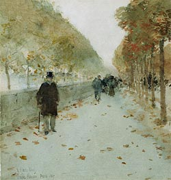 Quai du Louvre, 1889 by Hassam | Painting Reproduction