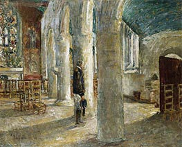 Church Interior, Brittany, 1897 by Hassam | Painting Reproduction