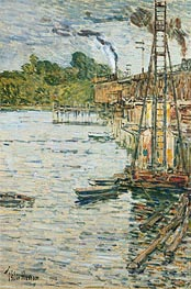 The Mill Pond, Cos Cob, Connecticut, 1902 by Hassam | Painting Reproduction