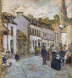 Street in Pont Aven - Evening, 1897 by Hassam | Painting Reproduction
