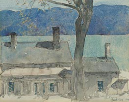 Old House, Newburgh, New York, 1916 by Hassam | Painting Reproduction