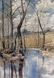 Woodland Pond, 1882 by Hassam | Painting Reproduction