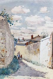 Street - Auvers Sur l'Oise, 1883 by Hassam | Painting Reproduction