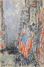 Flag Day, Fifth Avenue, July 4th 1916 | Hassam | Painting Reproduction