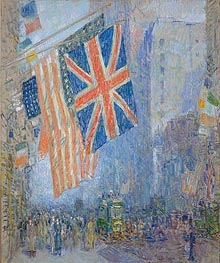 The Union Jack, New York, April Morning | Hassam | Gemälde Reproduktion