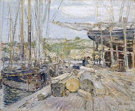 Docks, Gloucester, 1895 by Hassam | Painting Reproduction