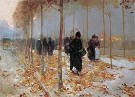 Paris Street Scene, Autumn | Hassam | Painting Reproduction