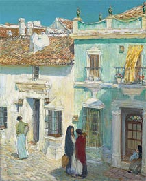 Plaza de la Merced, Ronda, 1910 by Hassam | Painting Reproduction
