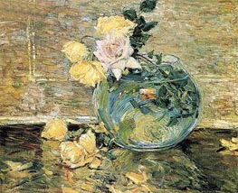 Roses in a Vase, 1890 by Hassam | Painting Reproduction