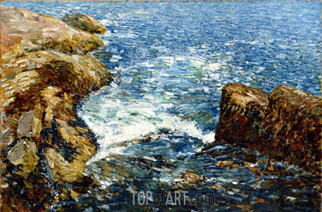 Surf and Rocks, 1906 | Hassam | Painting Reproduction