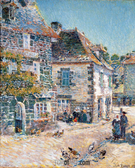 Pont-Aven, Noon Day, 1897 | Hassam | Painting Reproduction